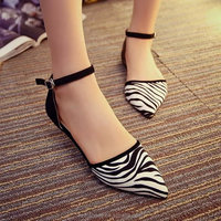 2015 New Low heel Women's Sandals Charming Zebra print lady flat shoes, Pointed Toe Cut-Out Ballerina Shoes