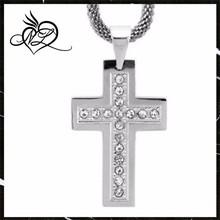 Stainless Steel Zirconia Diamond Cross Pendant Christian & Catholic Religious Jewelry