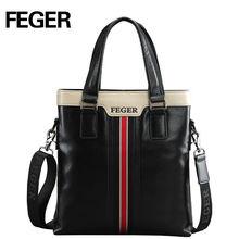 FEGER Vintage cow leather shoulder bag with handle men leather business bag