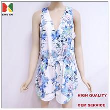 OEM service new fashion women's floral print jumpsuit, deep V-neck sexy jumpsuit for women