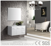 PVC bathroom vanity cabinet with side cabinet and mirror