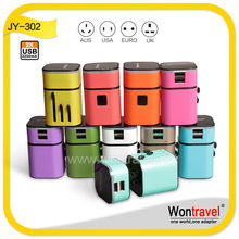 2015 New designed 5V 3.2A electric adapter plug,multiple USB output travel adapter, universal usb adapter with luminous logo