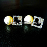 wholesale 925 silver 12mm round yellow south sea shell pearl earring