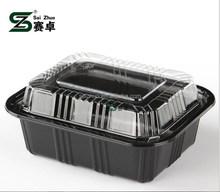 black plastic rectangle food container / disposable sushi box /plastic storage box
