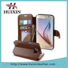 New top quality full grain genuine leather flip case for samsung s6 phone