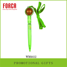 2015 Promotion Cheap Bsketball Plastic Pen Ballpoint Pen with Rope