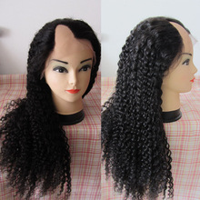 Malaysian remy hair lace wig long curly glueless silk top wig afro kinky u part wig 180% density thick
