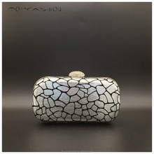 European popular Silver PU retina hard box clutch minaudiere