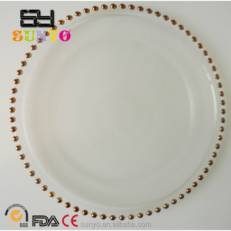 wholesale cheap gold beaded clear glass charger plates buy gold beaded charger plates
