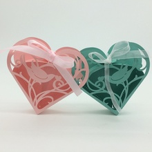 2015 Best selling Green,Pink Bird Heart Shape laser cut wholeale candy box with ribbon chocolate box baby shower gift box