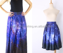 european style beautiful galaxy printed lady skirt high waist women skirt
