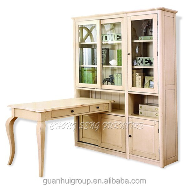 Antique white home office room furniture kids wooden bookcase with study table buy home office - Antique white home office furniture ...