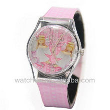 Pink Leather Lovely Angle Face Trendy Kids Watches 2012