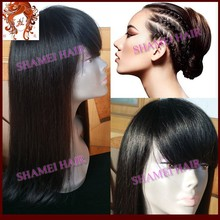 2015 Popular New Design Silk Base Full Lace Wig Brazilian Remy With Bangs