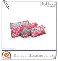 Printed chevron polyester makeup bag cosmetic organizer
