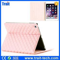 high quality Grid Pattern Side Flip Foldable Stand PC+PU Leather Case for iPad Air