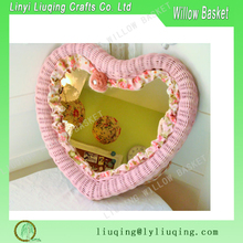 Shabby Chic Pink Heart Shaped Wicker Mirror Nurse wicker mirror frame rattan wicker mirrors