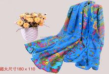 Real silk twill flower printing fashion scarf