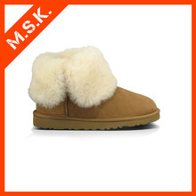 Sheepskin ankle winter snow boot for women