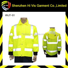 High visibility work jacket with reflective stripes