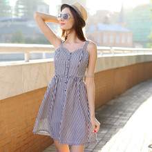 HJL-C1017 Veri Gude Wholesale New summer women sexy stirped shoulder-strap dress