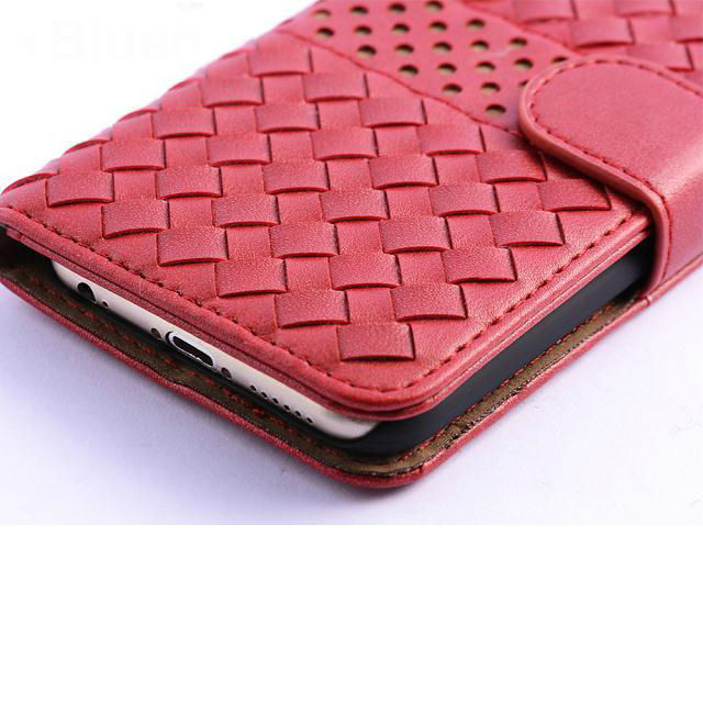 New Arrival Woven Pattern Book Leather Case For Cell Phone For Iphone 6G