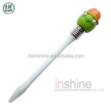 Cartoon soft pvc activity head ball pen , vinyl animal pen
