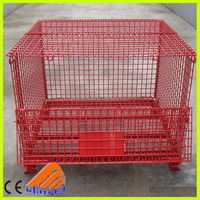 welded wire mesh container, power coated storage container, red container