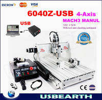 MACH3 USB port CNC router 6040Z-USB VFD 1.5 kw spindle, engraving machine, 3 axis or 4 axis ( A axis/rotation axis)