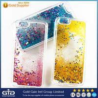 [NP-2408]Transparent Plastic Liquid Quicksand Glitter Stars Protective Case for Apple for iphone 6 plus