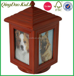 western style cheap solid wood carved wooden pet funeral urn for sale