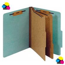Pressboard Folder, 2 Dividers, Letter, light blue, 10/Pack