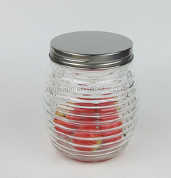 800ml Glass Canning Jar and Shining Metal Cover with Band Wave, Glass Storage Jar with Metal Lid