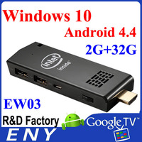 2015 latest Intel Quad Core Z3735F windows mini pc dongle TV dongle windows 10 Android 4.4 OS Built in