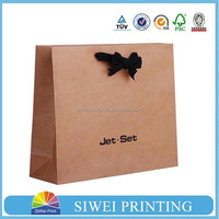 Custom new design recycled printing ribbon tie gift bags