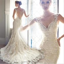 2015 The Most Popular Mermaid Wedding Dress Extravagant Crystals Rhinestones Beaded Lace Appliques Bridal Wedding Dress