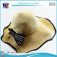 Wholesale Summer Folding Wide Brim Visor Women Beach Straw Hat