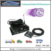 4 channels dual SD cards bus DVR supporting GPS and 4G LTE mobile phone viewing