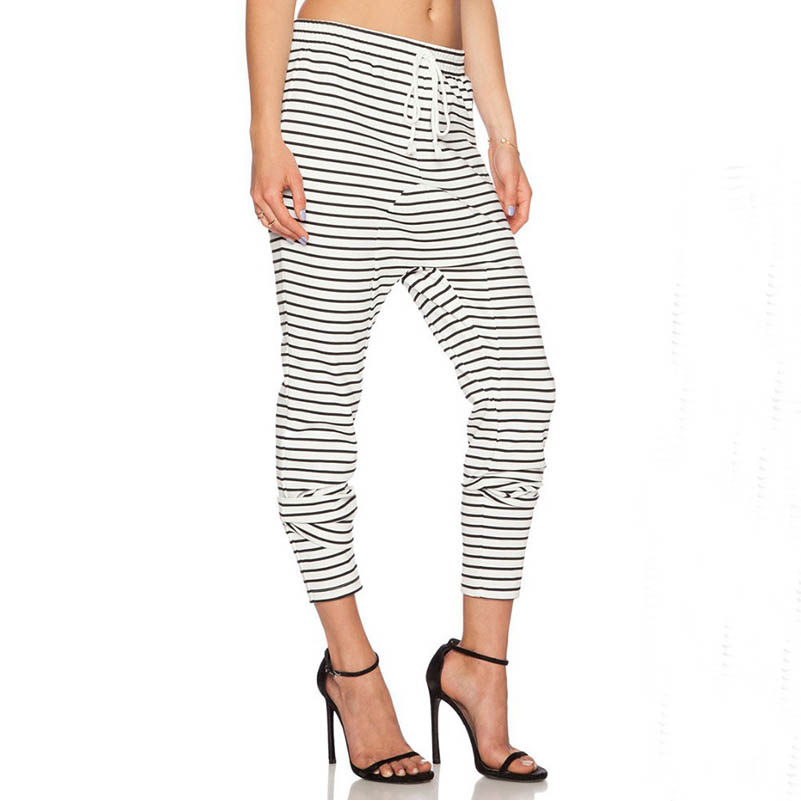 Unique Drop Crotch Fashion Striped Drawstring Jogger Trousers Women - Buy Trousers WomenStriped ...