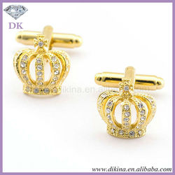 Top quality customized cufflinks skull cufflinks promotion gold Imperial crown with diamond custom suit shirt men cufflinks