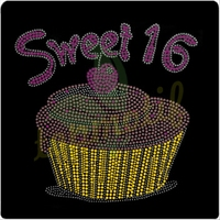 Sweet 16 Cupcake Hotfix Rhinestone design for garment