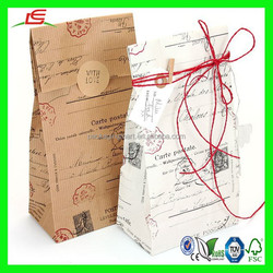 NZ036 White & Brown Postage Block Bottom Kraft Paper Bags Recycle Brown Paper Bag For Gift