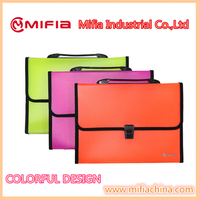 Office Document Organizer Fluorescence plastic a4 decorative expanding file folder with handle Sewing Edge
