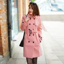 2015 winter new design fashion coat pink woolen great overcoats for adults women ladies OEM service