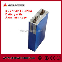 Prismatic LiFePO4 3.2v 15ah lithium ion car battery with alu case for EV and electric car