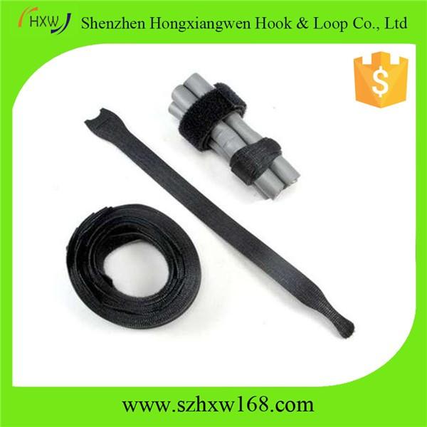 Black Adjustable Strap Reusable Ties Tidy Wrap Hook & Loop