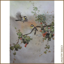 Traditional chinese painting of playful birds in the branches