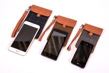 factory customize elegant fabric phone bag original design T/R fabric plaid mobile phone case