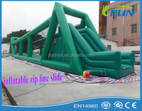 inflatable sliding bouncer with zip line/giant inflatable zip line slide/zip line inflatable slide