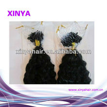 China wholesale human hair Virgin Remy Malaysian micro beads loop kinky hair extensions